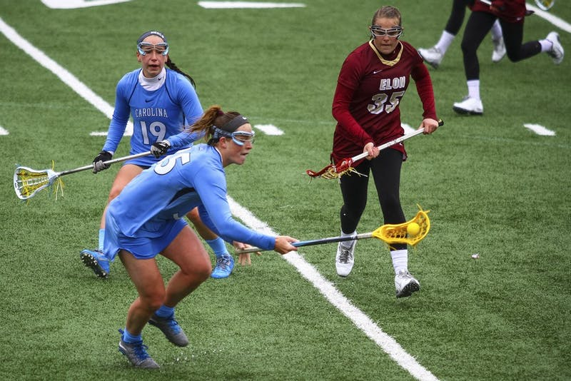 Senior midfielder Brittney Coppa (35) scored three goals against Louisville on Saturday as part of UNC's 18-5 victory.