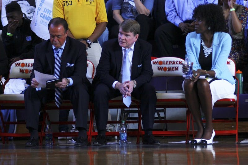 The Tar Heels left a seat open on their bench to honor Coach Sylvia Hatchell during her two game suspension Sunday afternoon against North Carolina State.