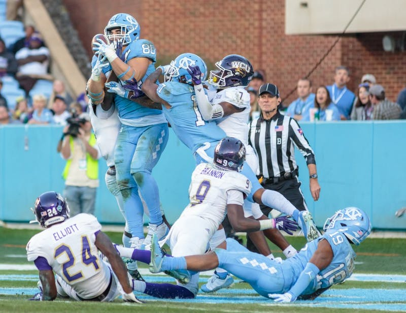 Tight end Jake Bargas (80) catches the ball during the home football game vs. Western Carolina on Saturday, Nov. 17 2018.