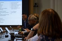 Senior Vice Provost for Business Operations, Rick Wernoski speaks Monday, Oct. 22, 2018 at the faculty executive counsel meeting.