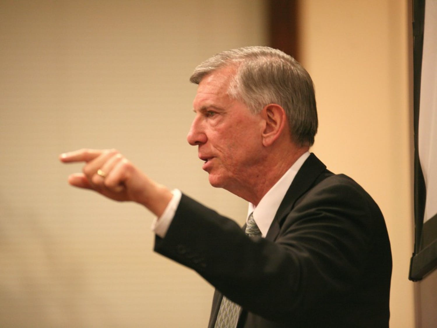 UNC President Tom Ross spoke and answered student questions Wednesday night in Carroll Hall concerning the  February 10 Board of Governors meeting to vote on a proposed 8.8 percent tuition increase for 2012-13 and 4.2 percent in 2013-14.