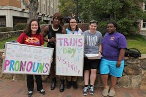 Jenna Travis, Da'Shawnda Laniqua Jackson, Megan Dew, Giulia Curcelli, and Josh Wigfall celebrate International Transgender Day of Visibility on Thursday morning.