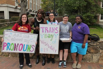 Jenna Travis, Da'Shawnda Laniqua Jackson, Megan Dew, Giulia Curcelli, and Josh Wigfall celebrate International Transgender Day of Visibility on Thursday morning