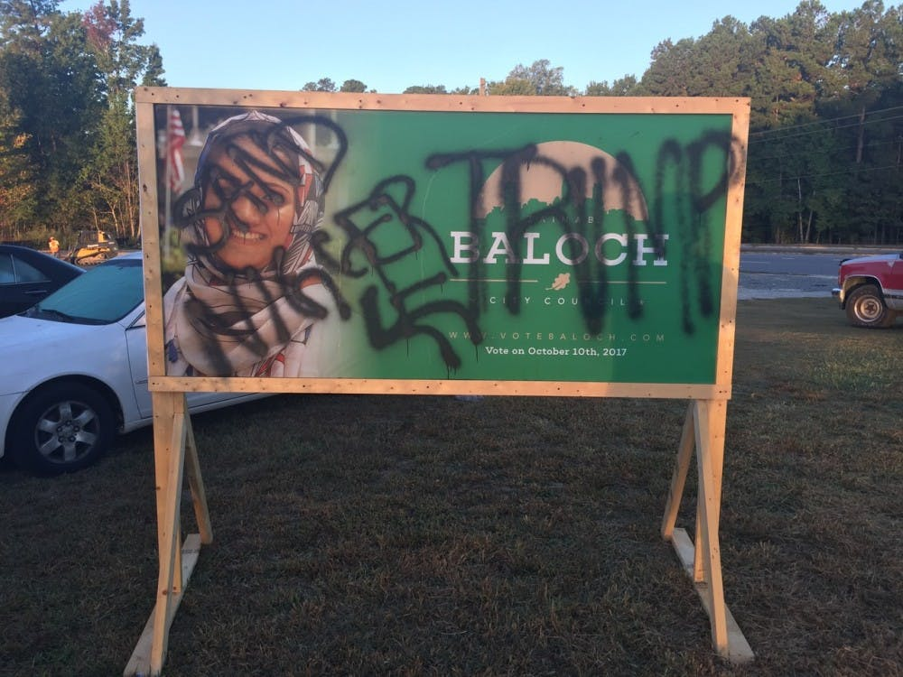 Zainab Baloch's city council campaign sign was found vandalized Friday morning at the site of a future mosque in Raleigh. Photo courtesy of Baloch.