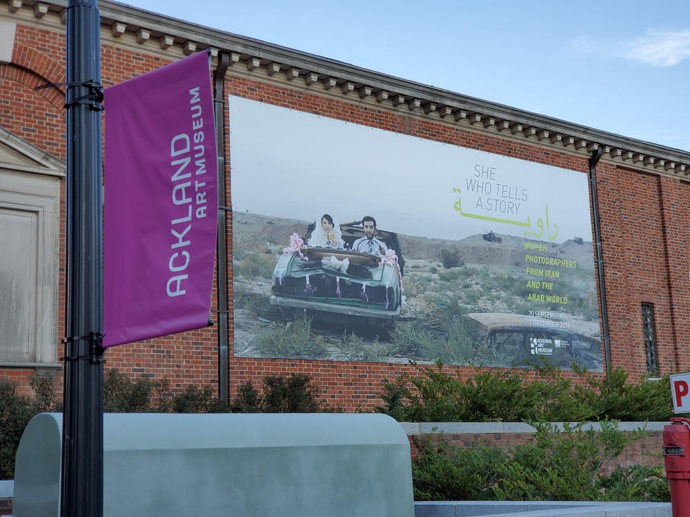 """<p>Front of the Ackland Art Museum depicting the """"She Who Tells a Story"""" exhibit. The exhibit is in conjunction with the Ackland Film Forum at the Varsity Theater.&nbsp;</p>"""