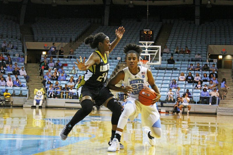 Paris Kea (22) drives the ball forward in the game against Alabama State on Friday.