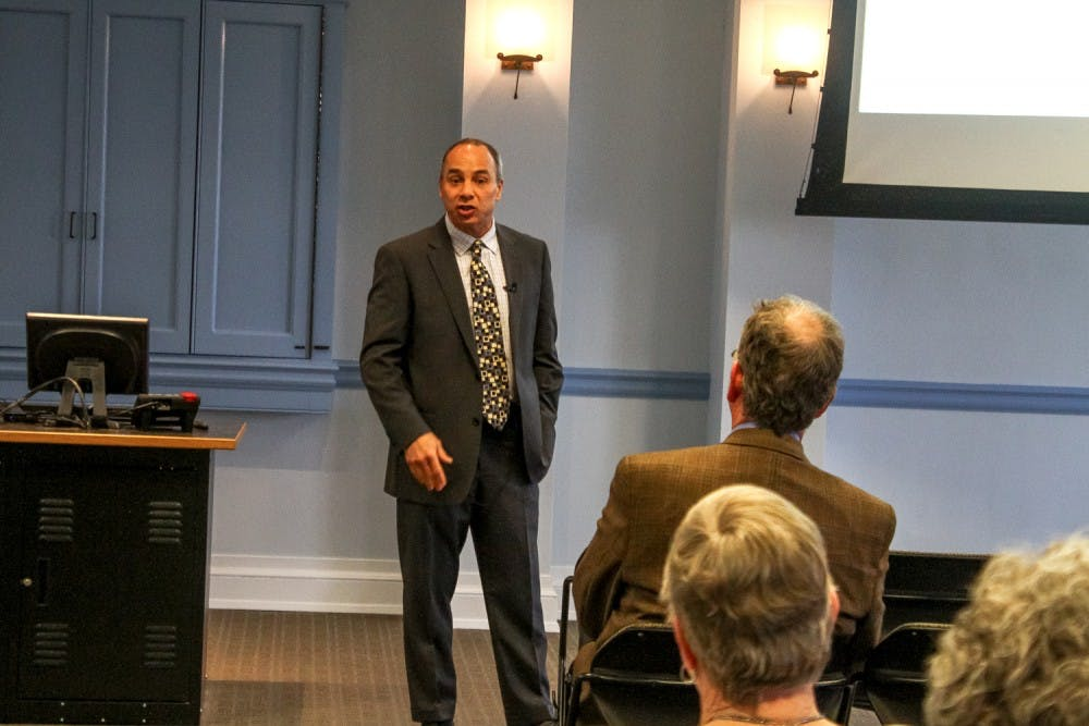 <p>Christopher Morphew, one of three candidates to become the School of Education's new dean, participates in a forum on Monday.</p>