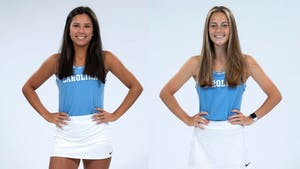 Carson Tanguilig and Lindsay Zink are first-years on the UNC women's tennis team. Photos courtesy of UNC Athletic Communications.