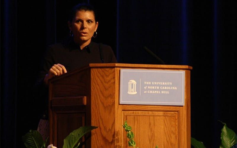 """Mia Hamm speaks at the formal introduction ceremony for the Order of the Golden Fleece on their 110th anniversary. IDK IF YOU NEED THIS BUT I THOUGHT IT WAS CUTE: """"It's [UNC] just the southern part of heaven. Actually, its just heaven."""""""