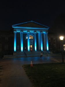 Morehead Planetarium was lit with blue lights for World Autism Day on Monday, April 2. Photo courtesy of Allison Zoller.