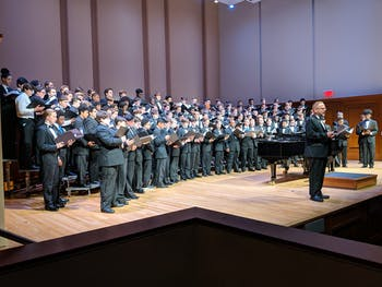 The UNC Glee Club (Tenors and Basses) has hosted ACIMCF for over 15 years. The two-day-long annual event allows low-voiced choir singers from North Carolina high schools to learn, rehearse and perform music alongside the Glee Club. Photo courtesy of Dan Huff.