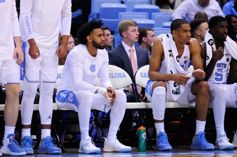 Senior Joel Berry II (2) sat out with an injury during the season opener against UNI on Friday night.