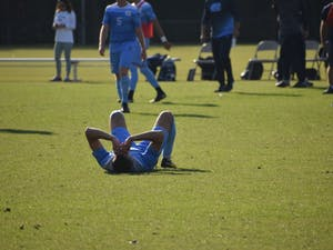 The North Carolina men's soccer team lost 2-1 to Notre Dame in the ACC Tournament quarterfinals on Sunday at WakeMed Soccer Park in Cary.