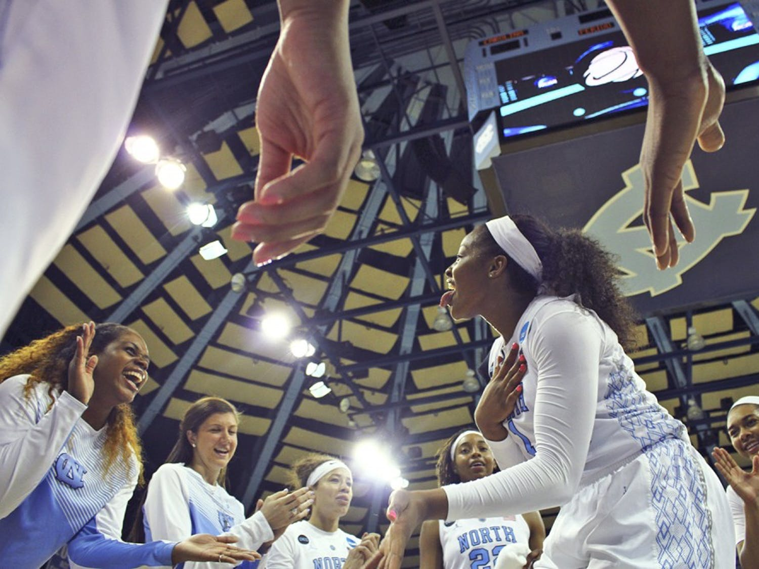 Sophmore forward Stephanie Mavunga (1) celebrates after the Tar Heels beat Ohio State in a buzzer beater 86-84.