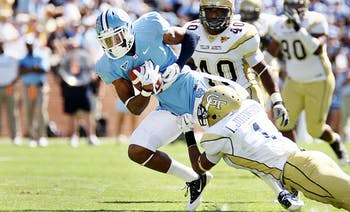 UNC wide reciver T.J. Thorpe is stopped by Georgia Tech's defense on Saturday. UNC lost to Georgia Tech 28-35.