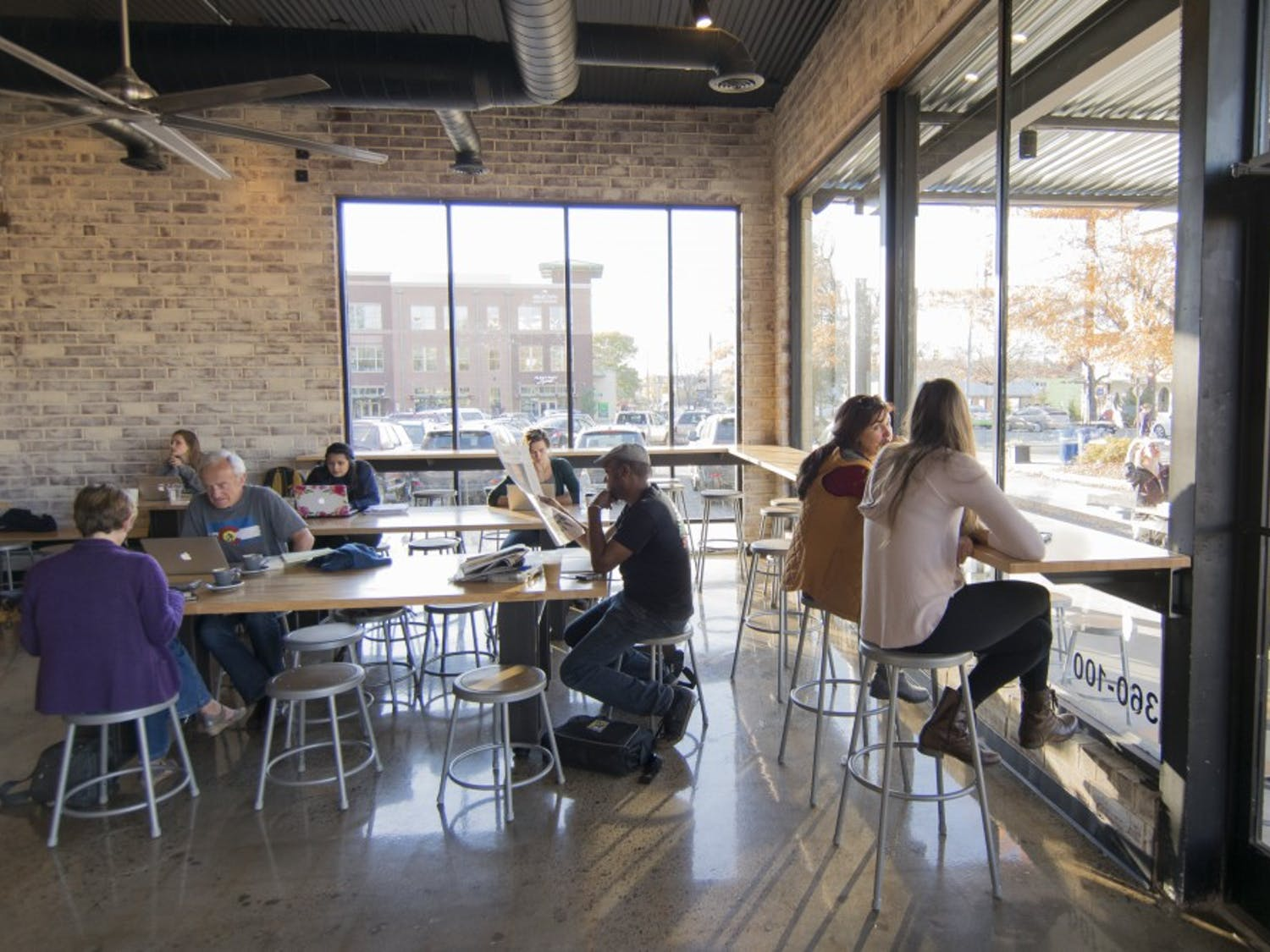 People relaxed and studied before the COVID-19 pandemic at Gray Squirrel Coffee on Main Street.