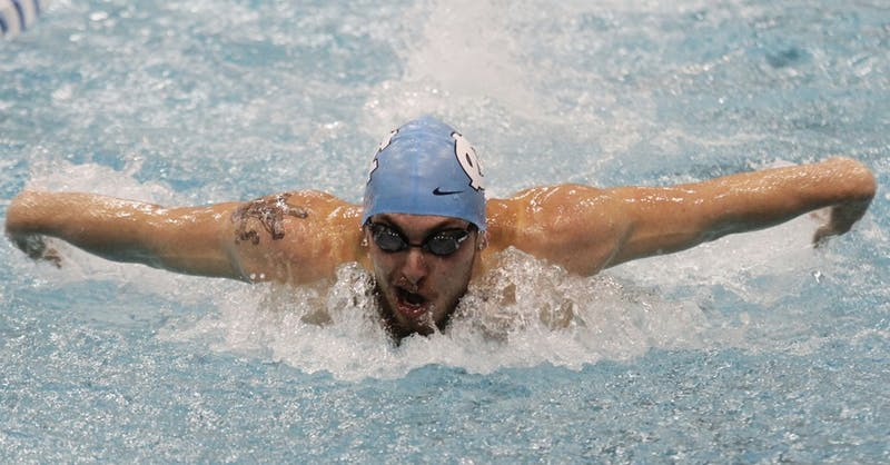 Ben Colley competes in the Men's 200 Yard Butterfly.