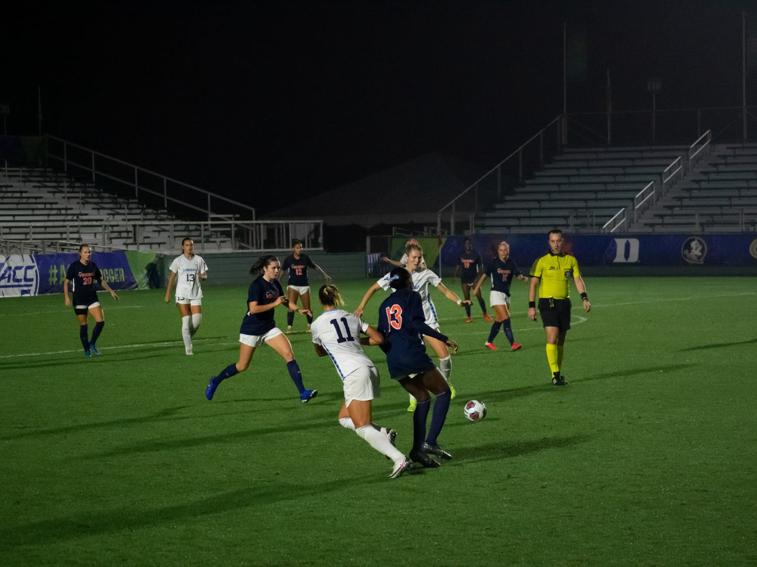 Virginia players go up against UNC players at the women's soccer game at Dorrance field on Friday, Nov. 13, 2020. UNC beat Virginia 2-0 in the ACC semifinal game.