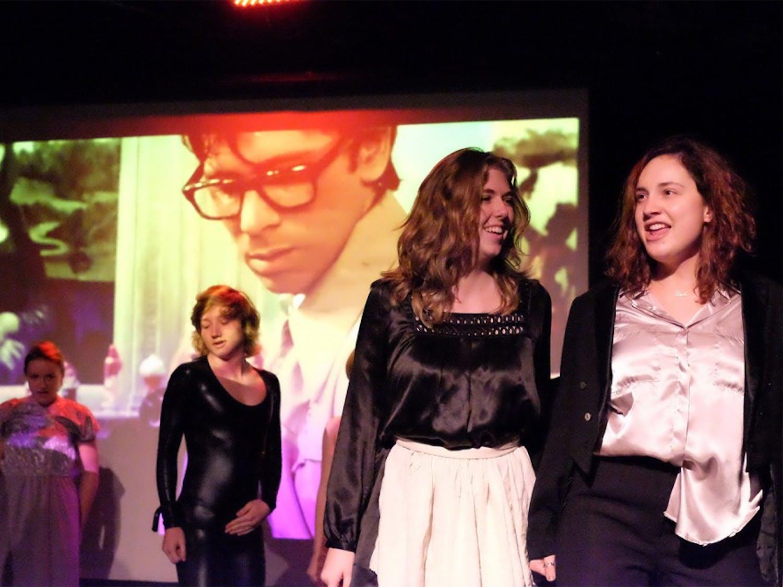 "Elizabeth Barbour (left) and Alissa Alba rehearse the ""Time Warp"" at the Carrboro ArtsCenter."