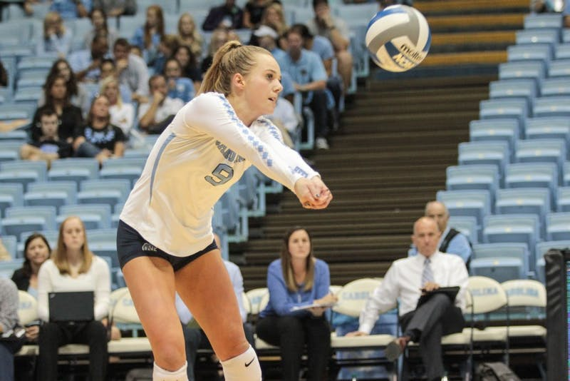 #8 Greer Moseman returns a serve from Pitt on Friday, October 12th.