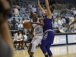 Senior guard Shayla Bennett (22) goes up for the ball in the game against Western Carolina in the Carmichael Arena on Thursday, Nov. 7, 2019. UNC won 92-55.