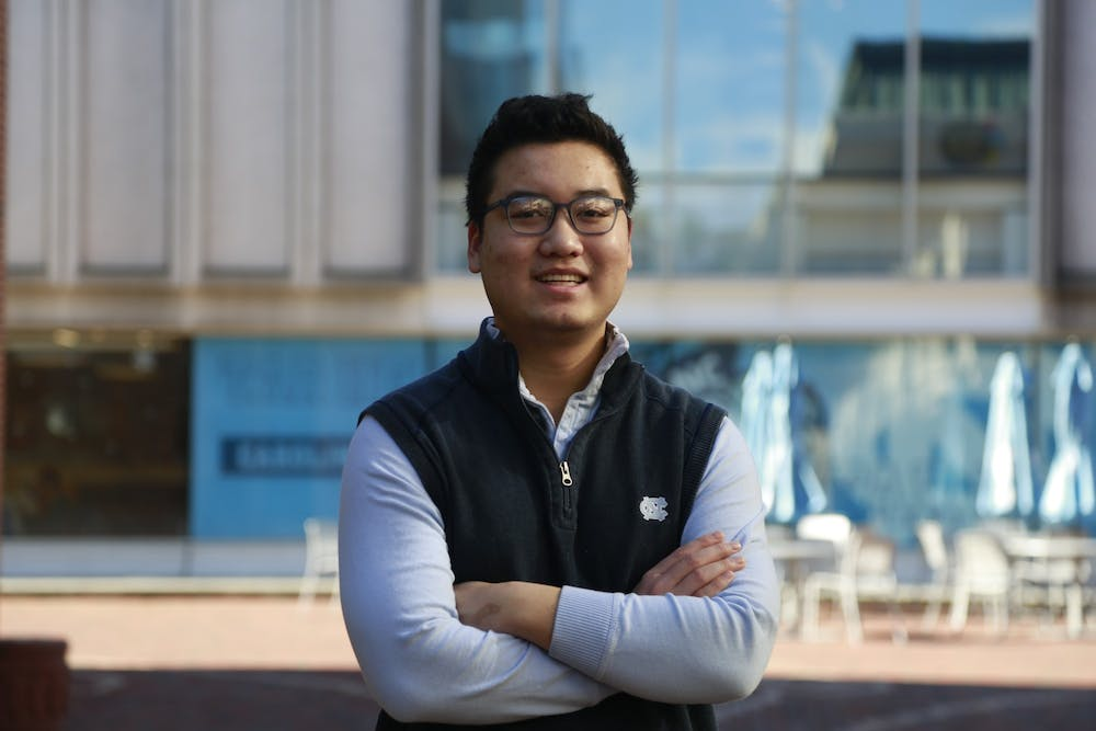 """Luke Nguyen, a UNC sophomore psychology major, is a co-president of the Mental Health Ambassadors.  The program empowers students to create a community in support of mental wellness. """"This program will definitely be worth your time."""""""