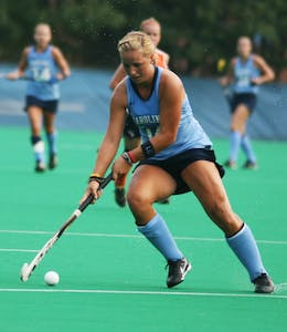 Kelsey Kolojejchick dribbles the ball down the field on Friday. In the 63rd minute of the game, she scored the winning goal in UNC's 3-2 victory.