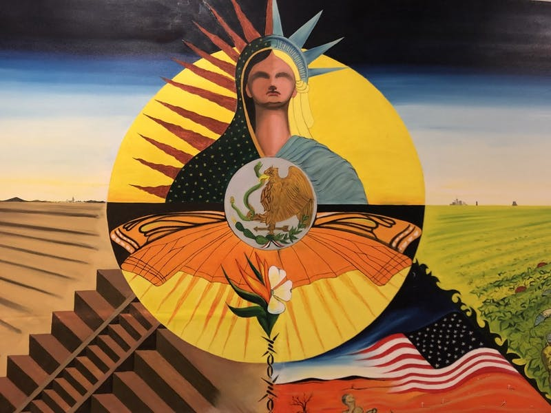 Cornelio Campos' painting 'Realidad Norteno' located on the third floor of the Student Union on Thursday, Feb. 28, 2019. The painting was originally housed in the Campus Y's Anne Queen Room, but was recently removed.