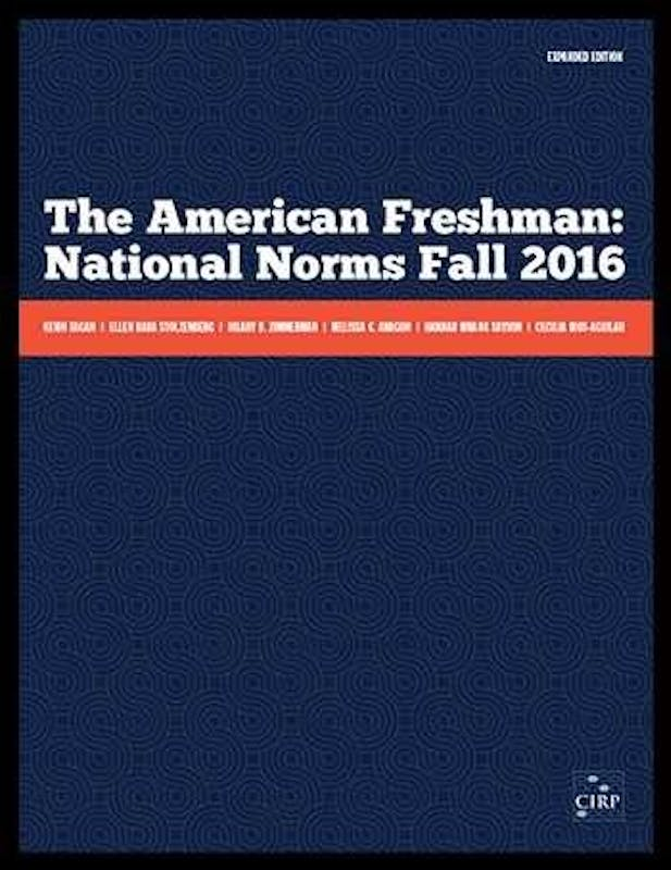 Cover of The American Freshman: National Norms Fall 2016 report. Photo courtesy of Kevin Eagan.