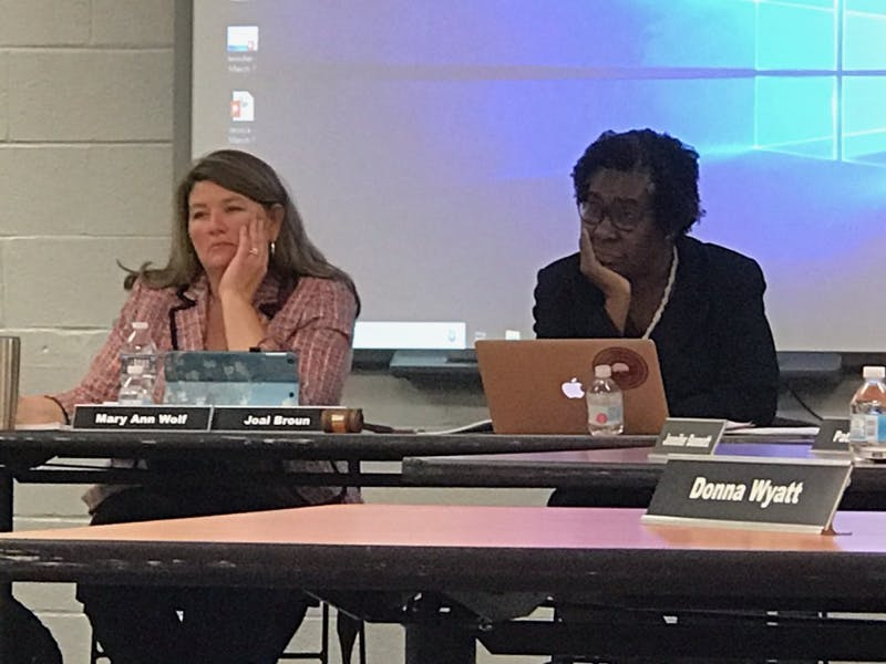 Joal Broun (right) has been appointed as the new chairperson of the Chapel Hill-Carrboro City Schools Board of Education on Thursday, March 7, 2019. Mary Ann Wolf (left) has been appointed as the new vice chairperson.