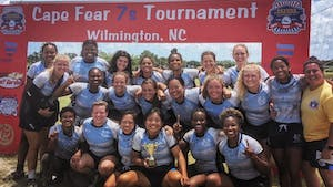 The UNC Women's Club Rugby Team is pictured at the 2021 Cape Fear Rugby 7's Tournament. Photo courtesy of Maddie Carney.