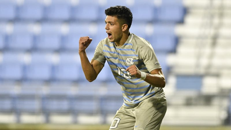 UNC's senior forward Giovanni Montesdeoca celebrates after scoring a goal against Duke at Dorrance Field on Friday, Nov. 6, 2020. UNC beat Duke 2-0. Photo courtesy of Dana Gentry for UNC Athletics.