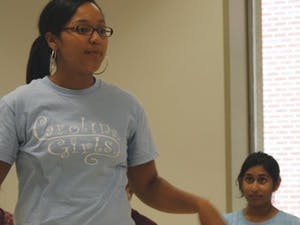 Junior Jasmin Jones discusses the vision of the student lifecommittee at the annual student council ?Cabinet Kickoff.?