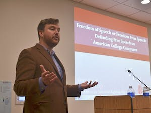 Greg Lukianoff, the president of the Foundation for Individual Rights in Education (FIRE), holds a talk discussing the lack of free speech permitted on American college campuses.