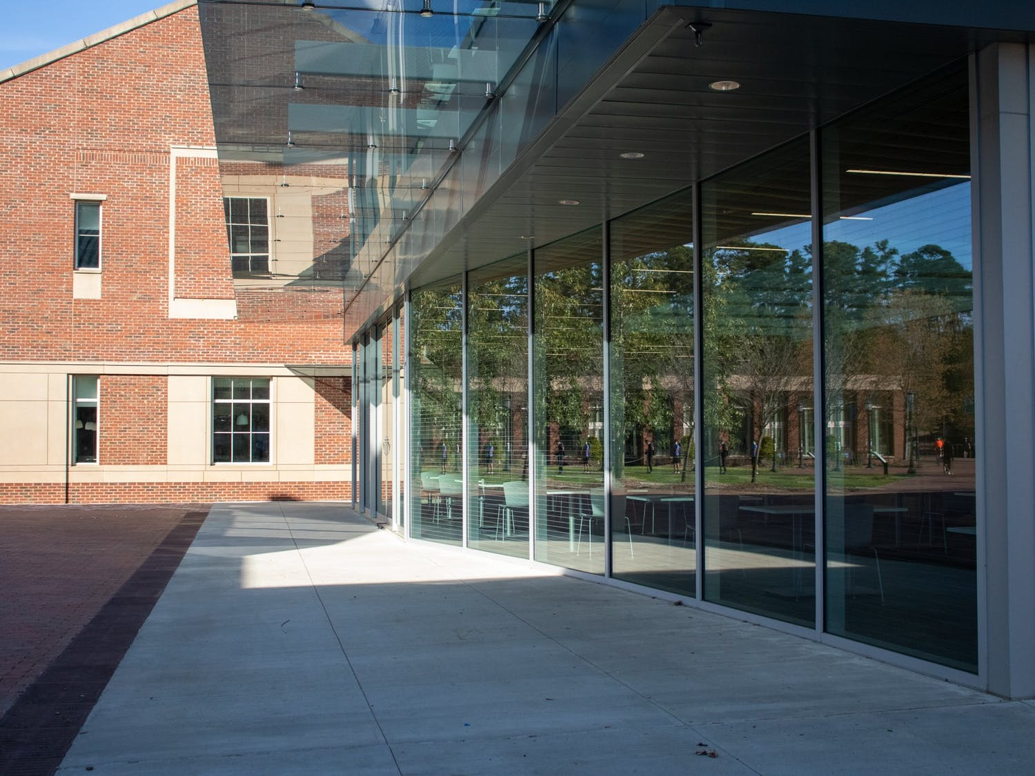 The glass extention to Chase Dining Hall sits on the Chapel Hill campus on March 30, 2021.