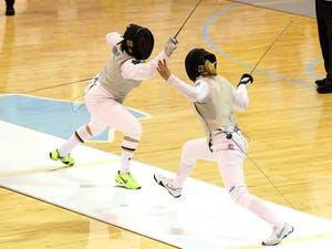 Gabrielle D'Astoli competes in the first ACC Women's Fencing Championship Sunday.