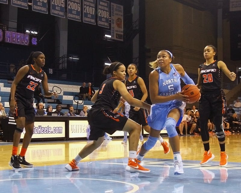 North Carolina guardStephanie Watts (5) looks up to make a shot during the second half of Wednesday afternoon's game