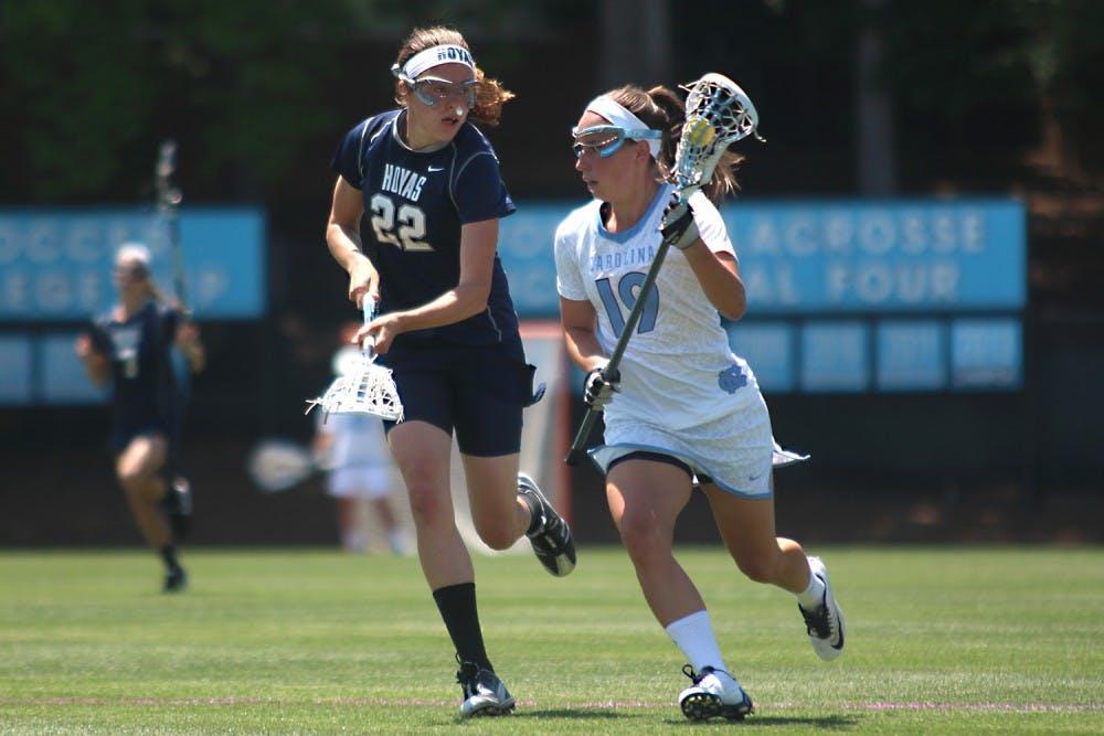 <p>Sarah Scott advances the ball toward the goalduring Sunday afternoon's NCAA tournament game against Georgetown.</p>