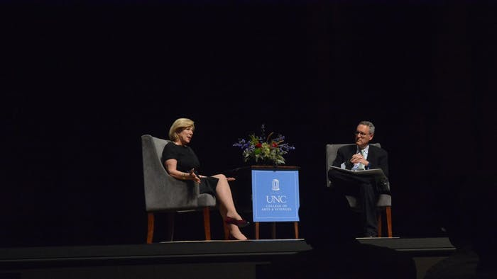 NPR's Nina Totenberg (left) speaks with Michael Gerhardt about The Supreme Court and the Presidency in Memorial Hall on Tuesday Night.