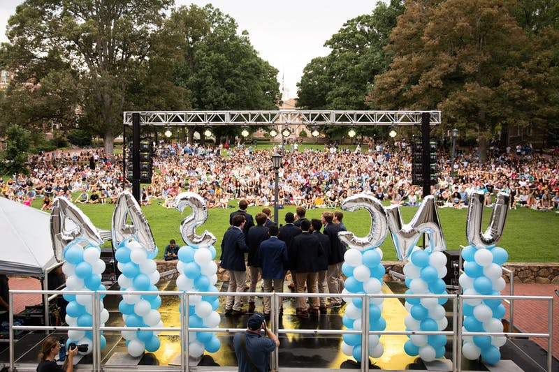 The Clef Hangers, an a capella group at UNC, perform at Sunset Serenade on Monday, Aug. 19, 2019.