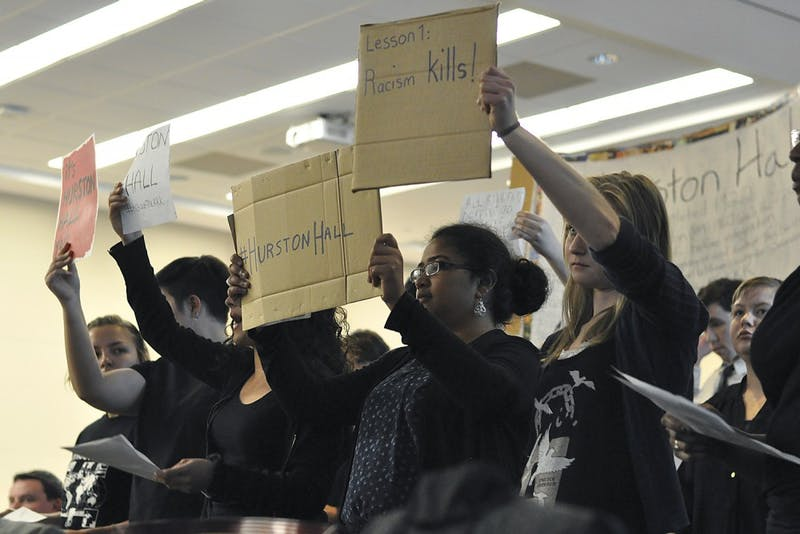 Students from the Real Silent Sam Coalition attended the UNC Board of Trustees' meeting to discuss renaming the academic building Saunders Hall.