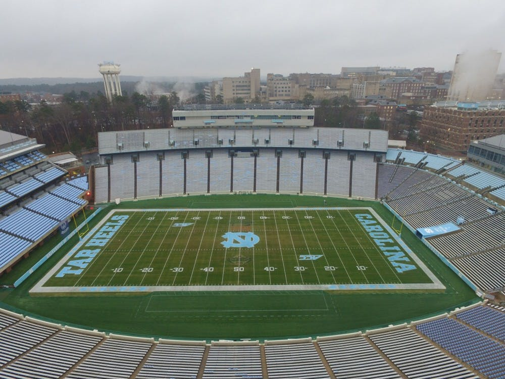 <p>Kenan Stadium will undergo renovations in February to install individual seats throughout the stadium for 2018. During the 2017 season, UNC experimented with individual seating in sections 110 and 111, which can be seen in the bottom right corner of this drone shot.</p>