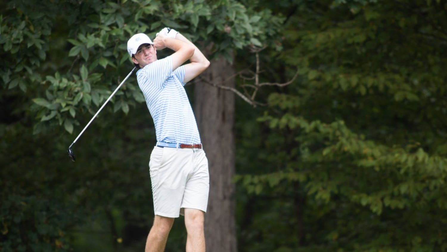 UNC-Chapel Hill sophomore Ryan Burnett tees off at the Rod Myers Invitational at the Duke University Golf Club on Sunday, September 15, 2019. Burnett placed third with an even-par 72, his second third-place finish at the invitational.