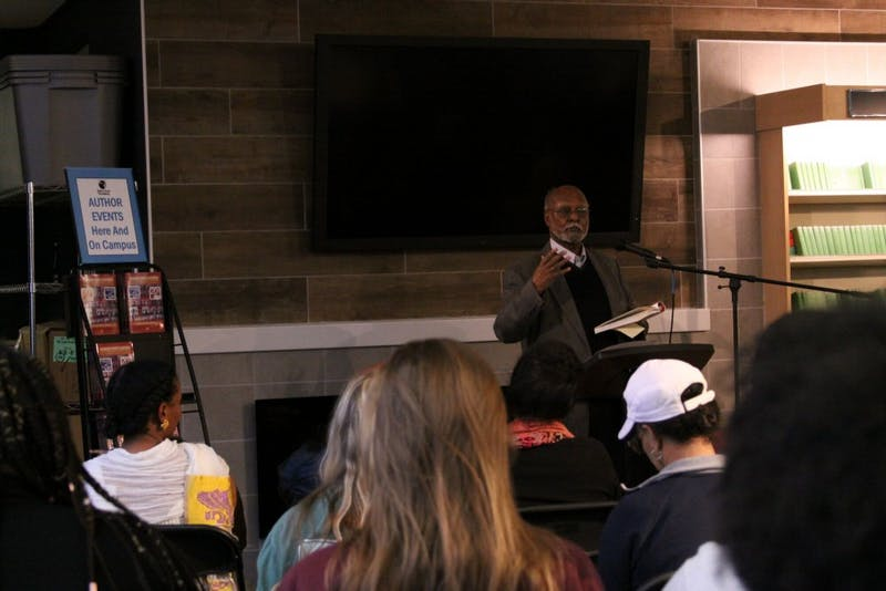 On February 28, 2018, UNC-Chapel Hill professor Bereket Habte Selassie spoke to an enraptured crowd in the Bulls Head Book Shop about his most recently published book, which discusses peace and pan-Africanism, among other topics.