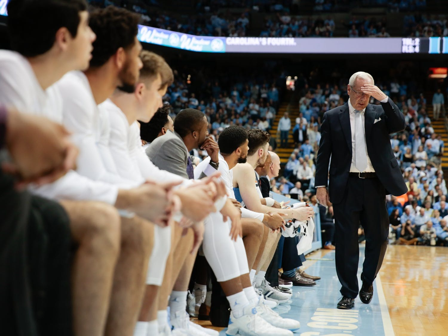 Head Coach Roy Williams reacts during a game against Duke in the Smith Center on Saturday, Feb. 8, 2020. The Tar Heels lost to the Blue Devils in overtime 98-96.