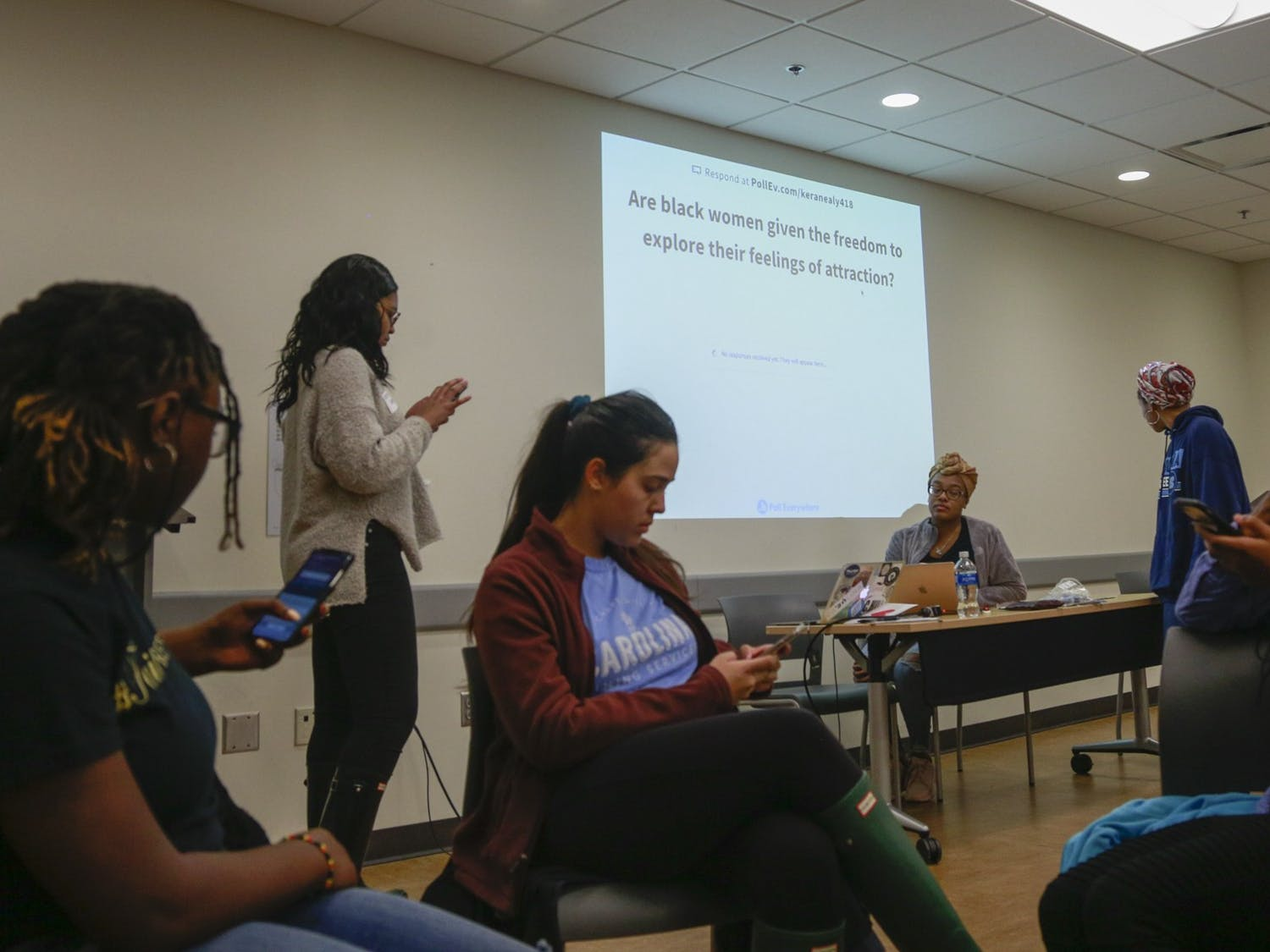 UNC students attend an event hosted by The Bridge and Queen in You called Black Women and Dating on Thursday, Feb. 6, 2020. This event is one of many African American Heritage Month events at UNC.