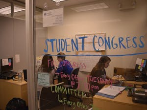Katharine Shriver, 19-yo PoliSci and Public Policy Major (Left), Paul Kushner, 21-yo Econ major, Joanna Zhang, 18-yo Psych and PoliSci major. Election and referendum results are in on Thursday Night.
