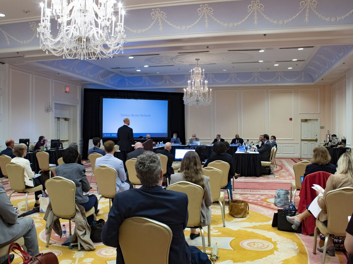 Chief Financial Officer Nathan Knuffman presents to the Committee on Finance, Infrastructure, and Audit in the Chancellor's Ballroom at the Carolina Inn on Sept. 22, 2021.