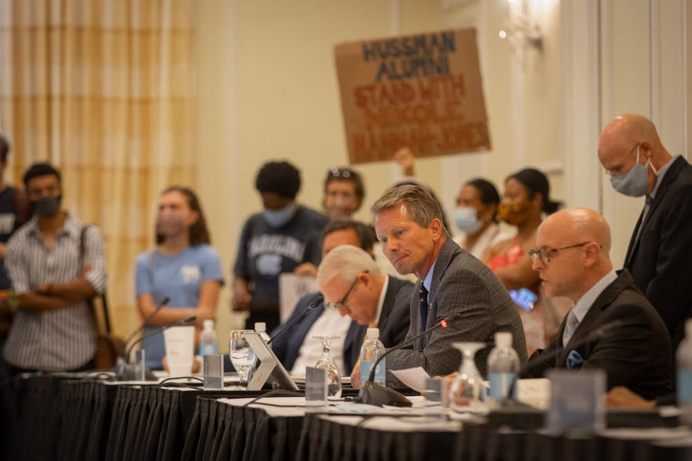 <p>UNC Chancellor Kevin Guskiewicz as pictured after the June 30 Board of Trustees meeting where the Board voted to grant tenure to Nikole Hannah-Jones.</p>