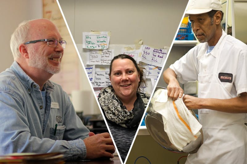 Rex Mercer, left, is a social worker at IFC, the Inter-Faith Council, helping to provide temporary places of residence for individuals and families experiencing homelessness. Corey Root, center, is the Homeless Program coordinator for Orange County. Behind her is a wall covered in different cases of people she plans to enter into the system. Mike Alston, right, was previously homeless and now works as a dishwasher at Pizzeria Mercato.